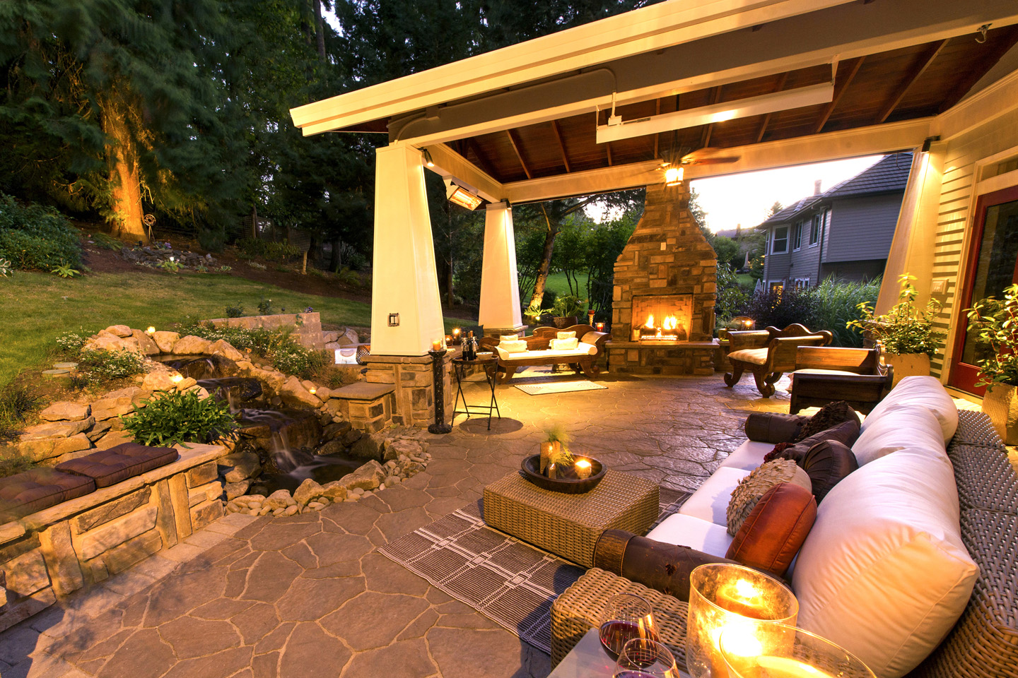 Gazebo, In-ground-Spa, Water Feature