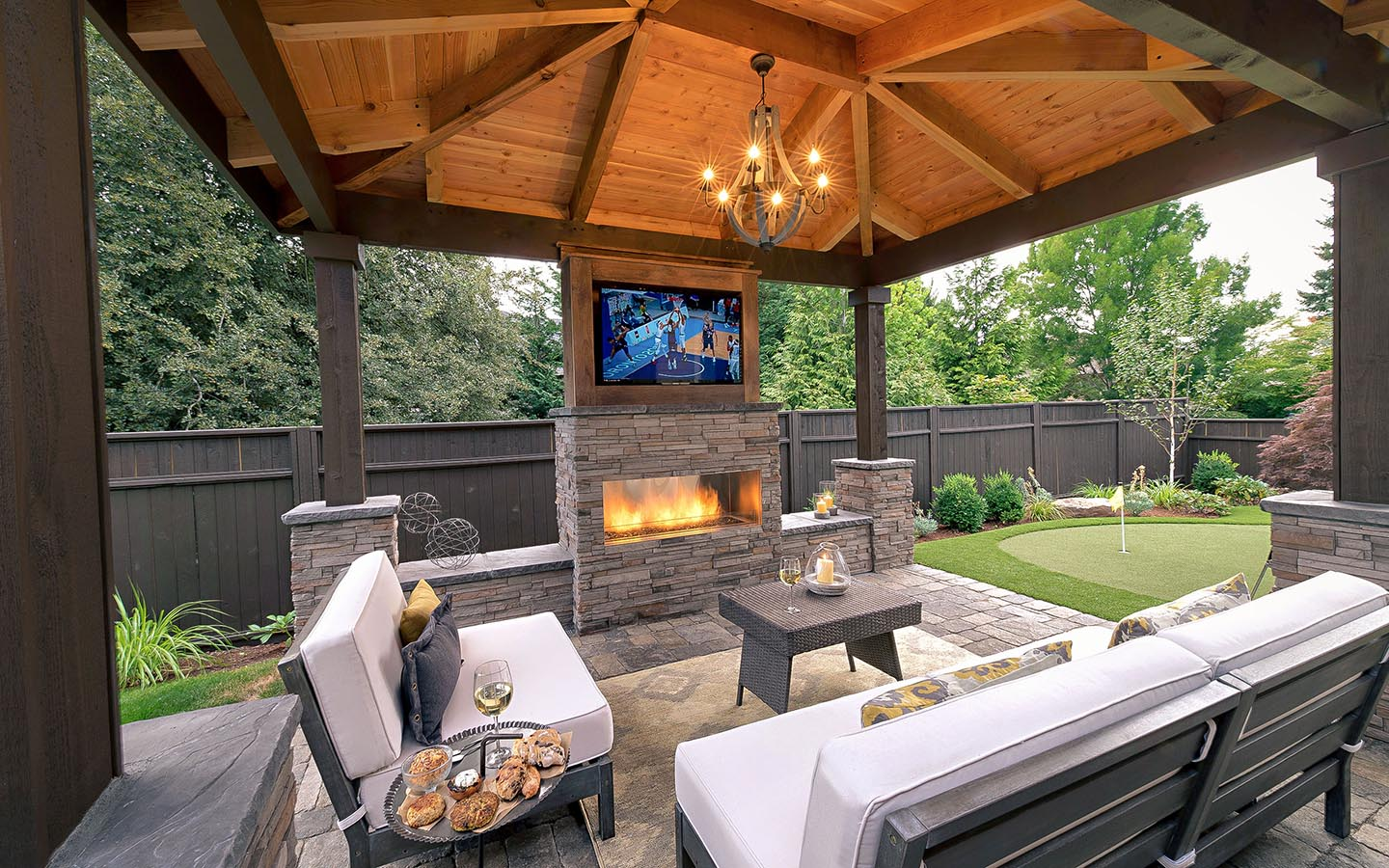 Modern rustic landscape design paradise restored landscaping for Plans for gazebo with fireplace
