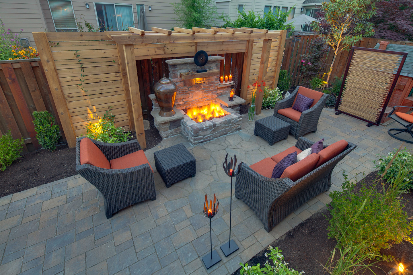 Firepit with Privacy Pergola