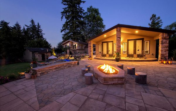 Upper hardscape patio with unique firepit & seatwall