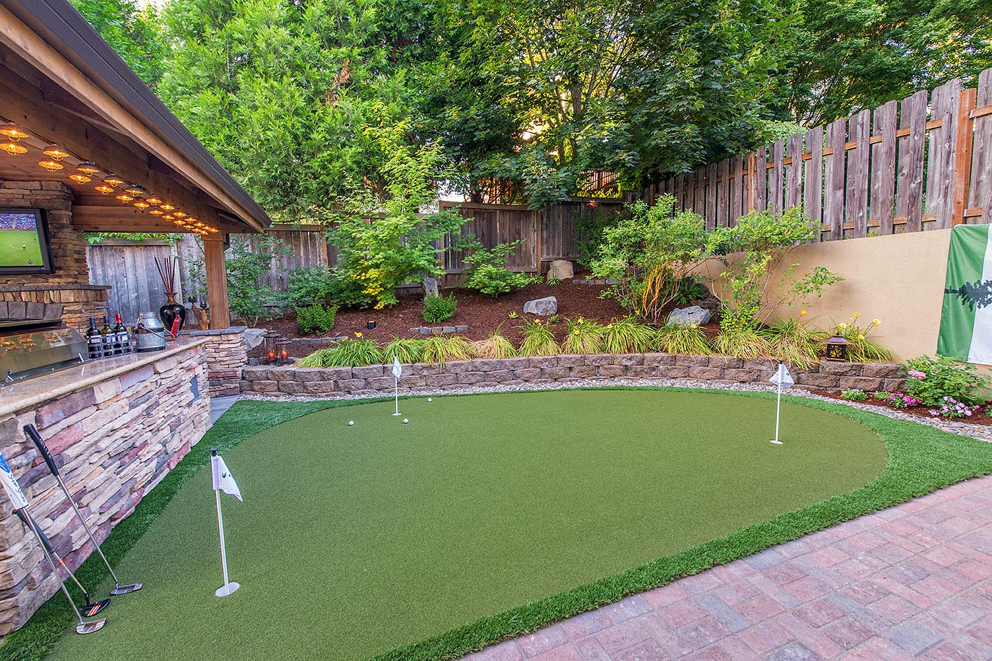 Roscoe Property Putting Green Installation by Paradise Restored Landscaping