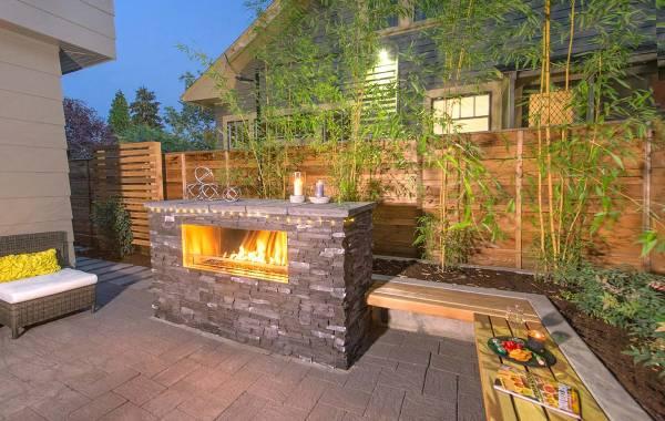 Gas Burning Fireplace in Landscape design
