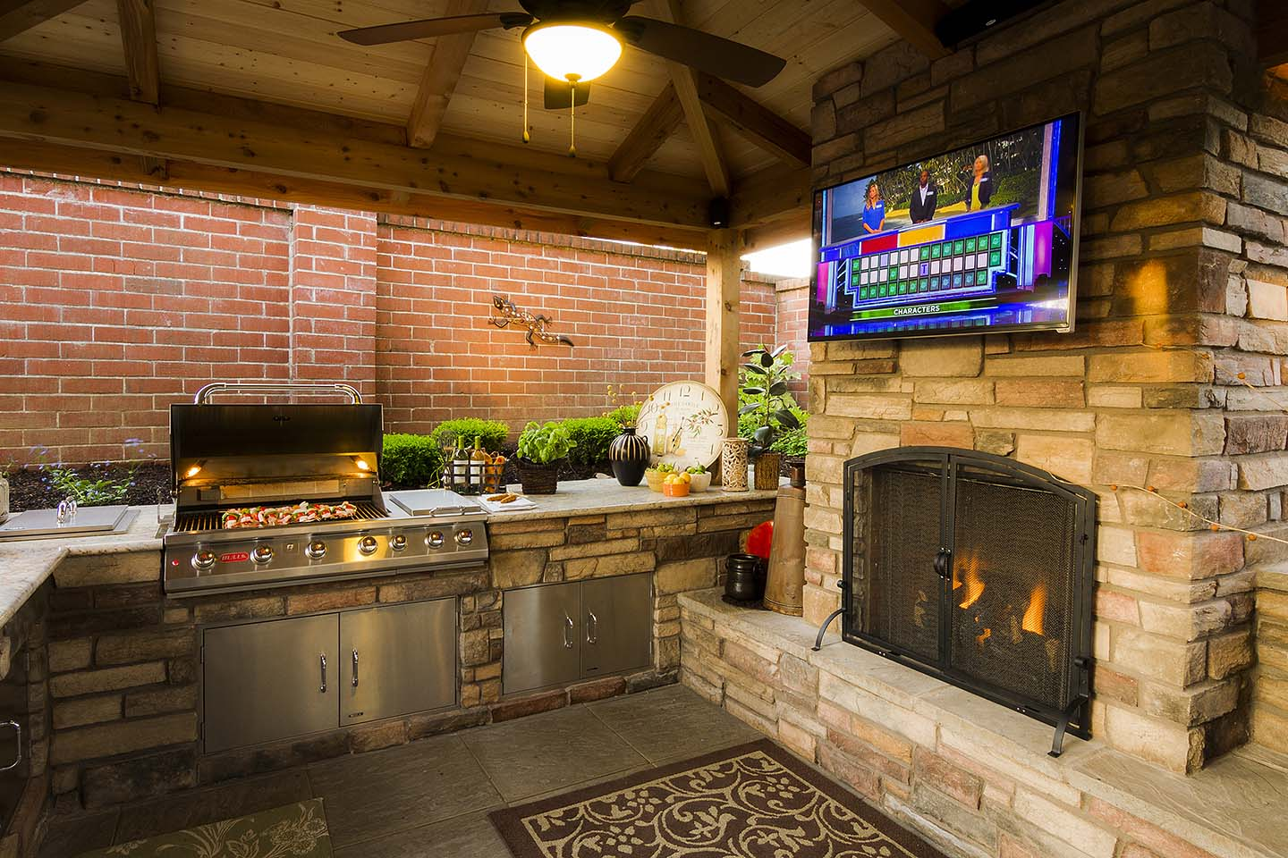 Fireplace in Kitchen