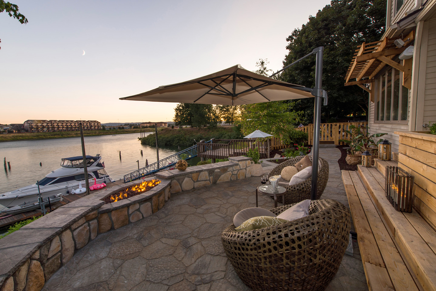 River view landscape - unique firepit