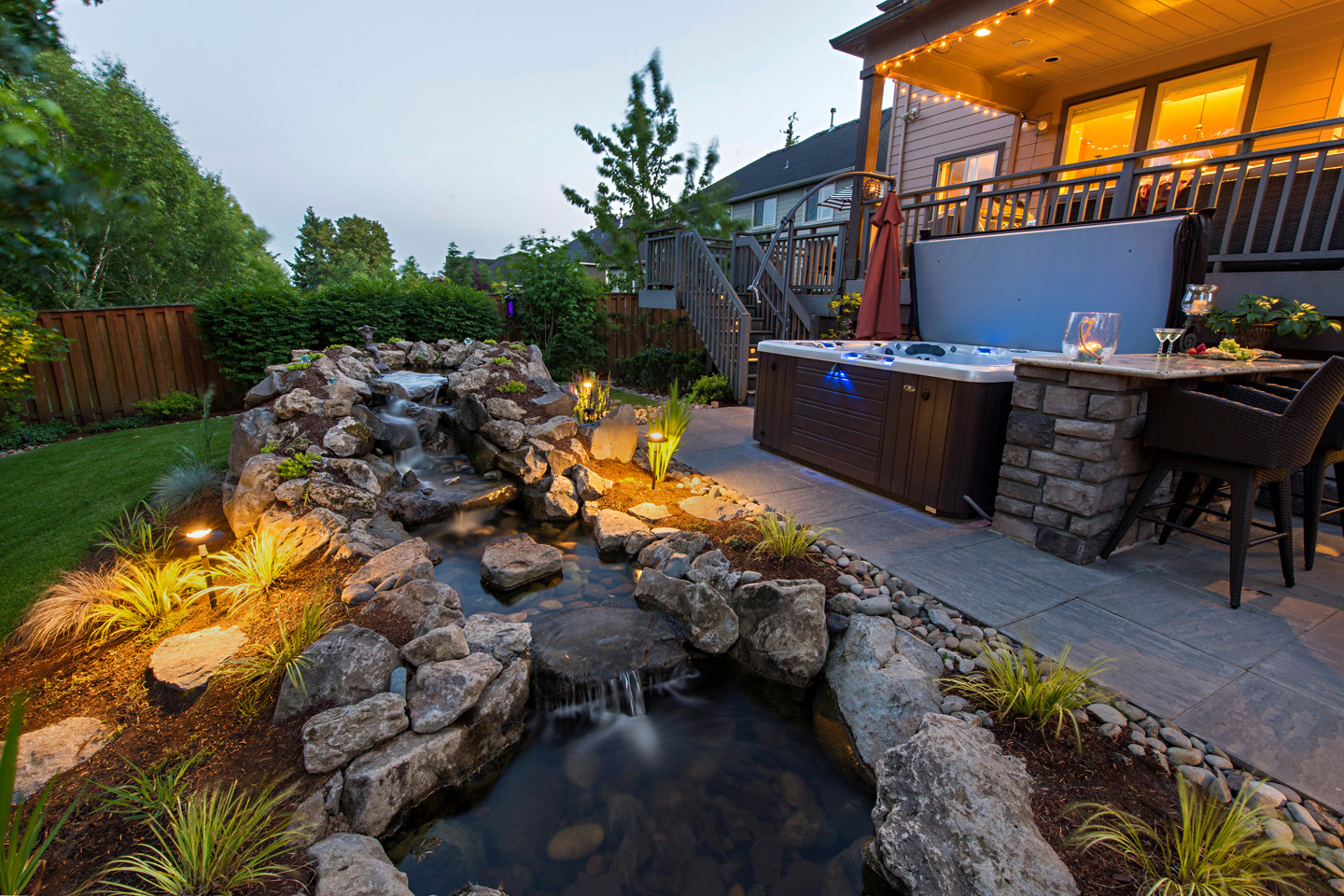 Waterfall Water feature with Step-over Pathway