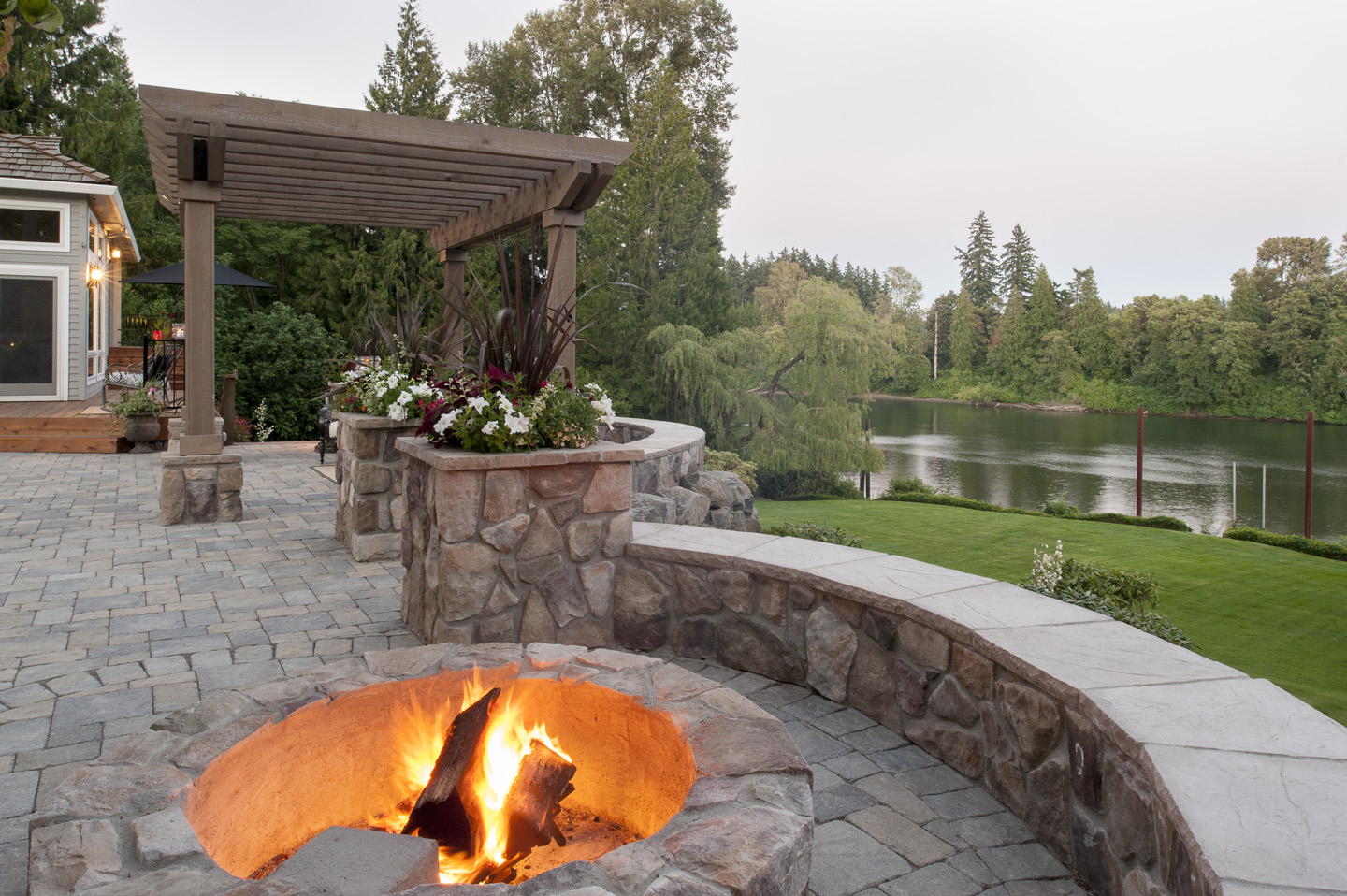 Fire Pit with seat walls, column planters, riverview