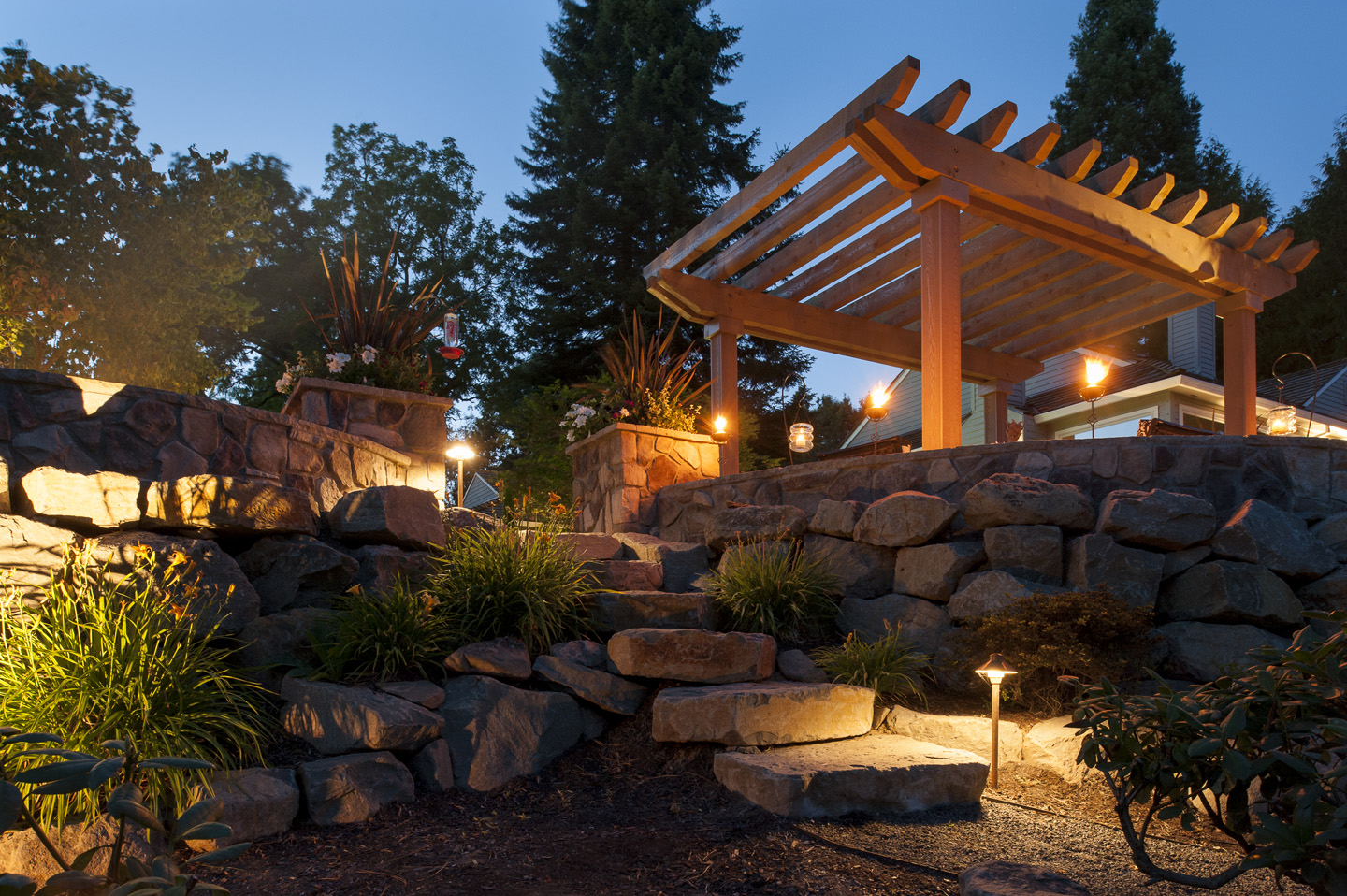 Pergola awning with boulder staircase
