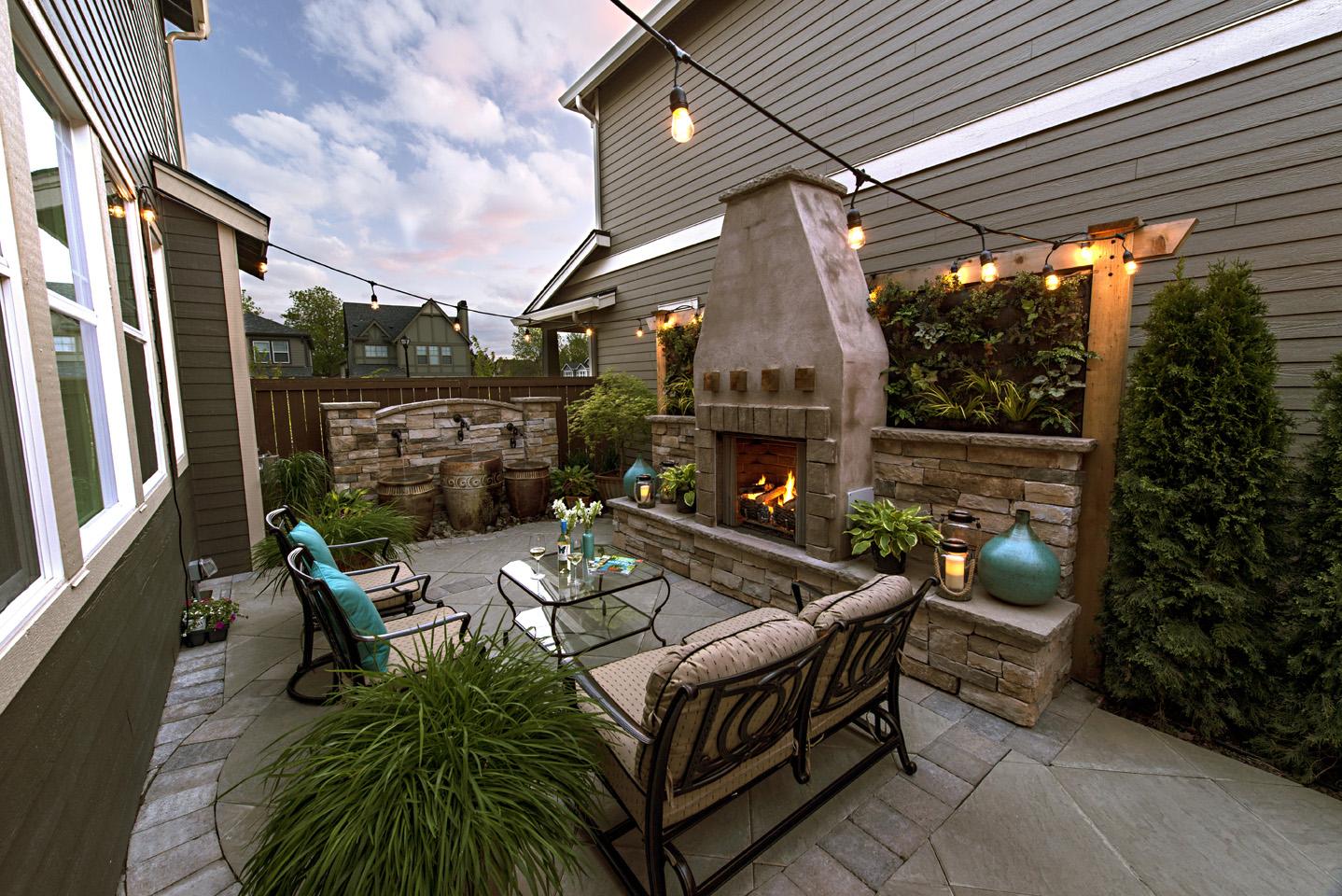 living wall fireplace