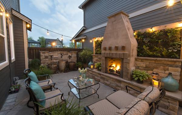 Gas Burning Fireplace in Landscape design