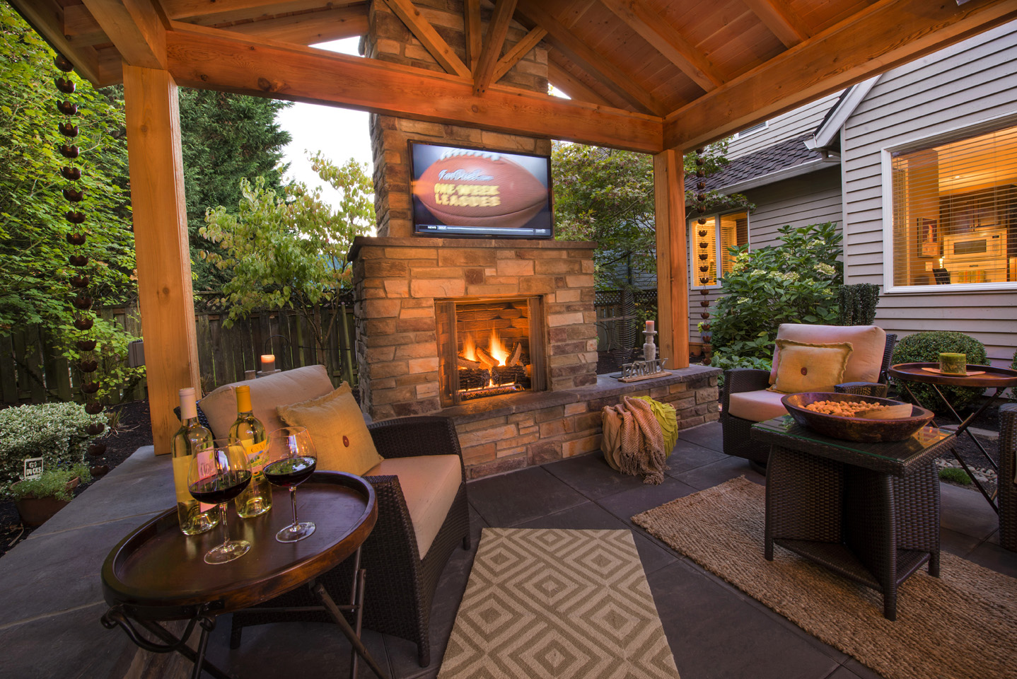 Fireplace with TV in Landscape
