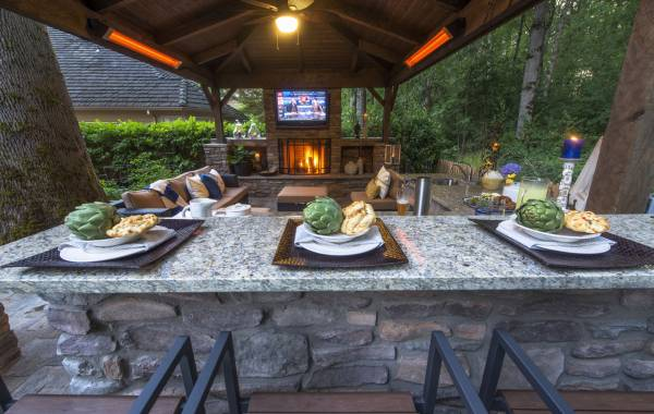 outdoor bar and TV