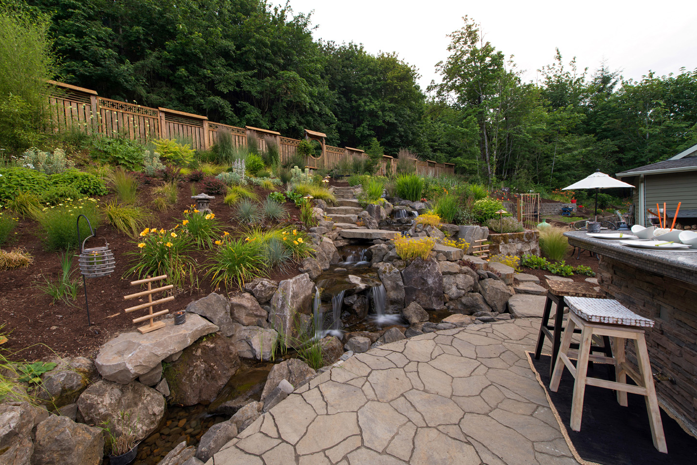 Large Outdoor Waterfalls Paradise Restored Landscaping