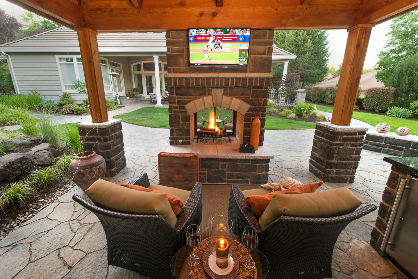 Double Sided Outdoor Fireplace