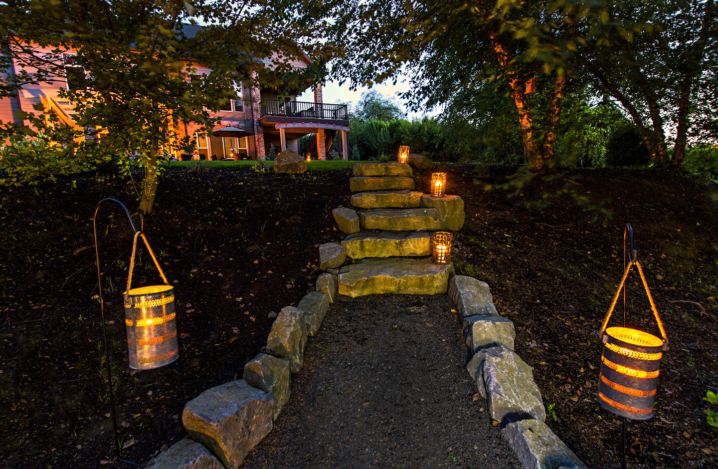 Lanterns in Outdoor Setting
