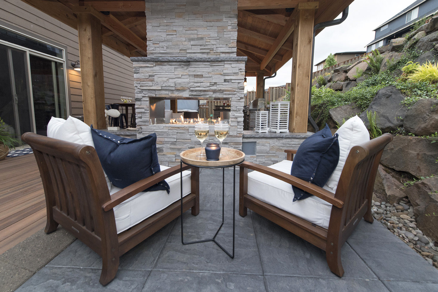 Double Sided Outdoor Fireplaces