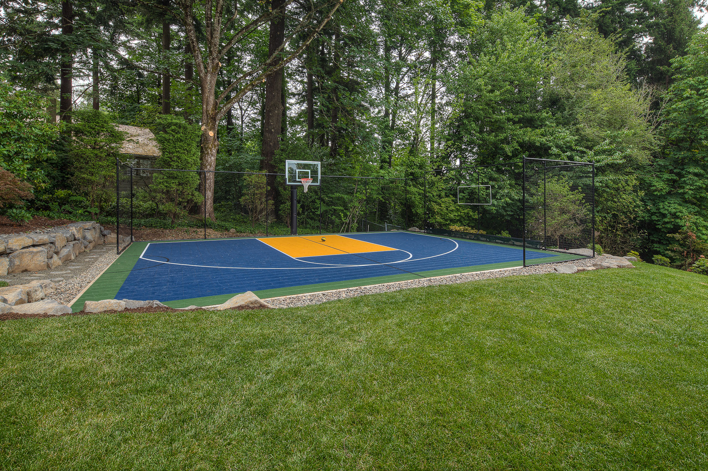 Basketball court in backyard