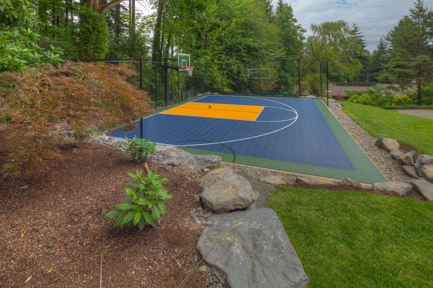 sport court in backyard