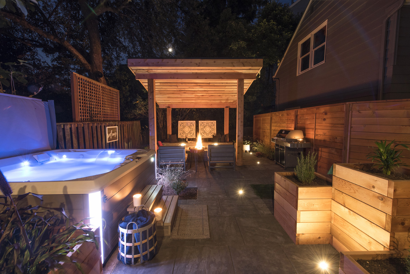 Hot Tub in Outdoor Living Area