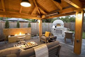 Covered Outdoor Living room in landscape design