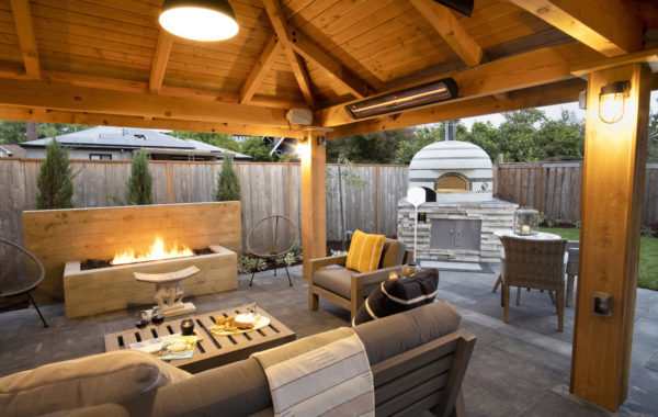 Covered Outdoor Living room in landscape design