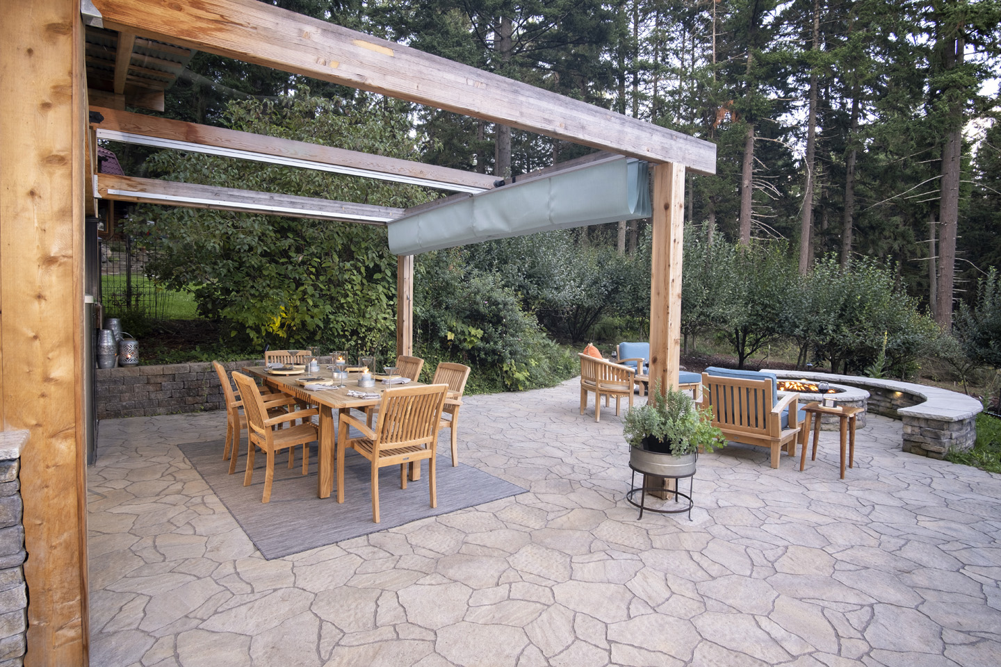 Retractable Awning in Backyard