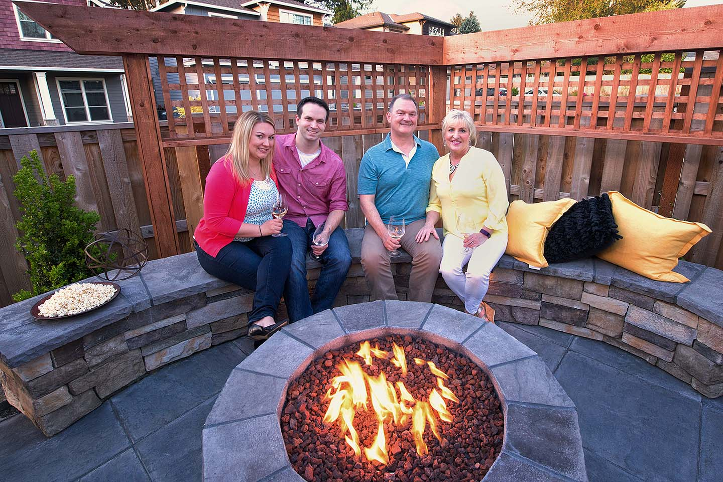 Firepit with Seatwall