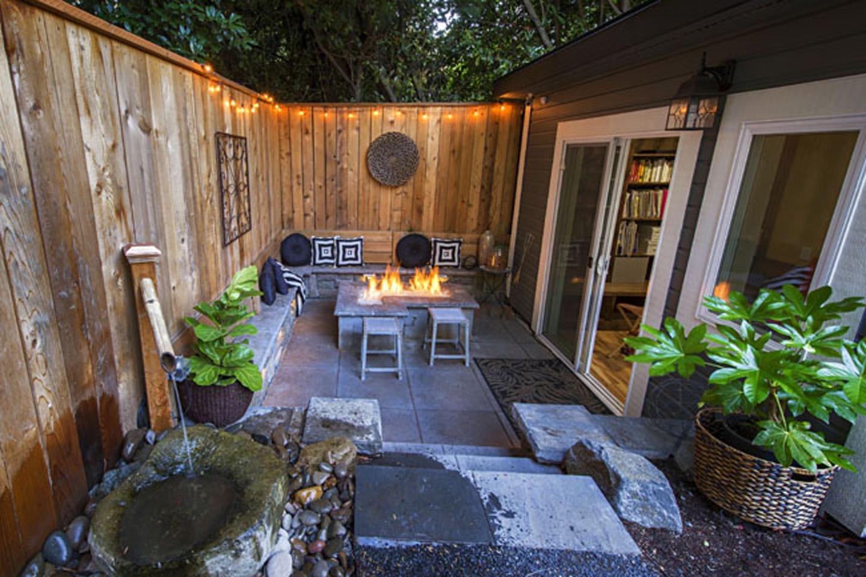 Sloped Backyard with Firepit